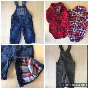 Lot of Baby Boy OshKosh Overalls Plaid Shirts 12mo